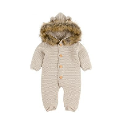 Baby Hooded Knitted Jumpsuits