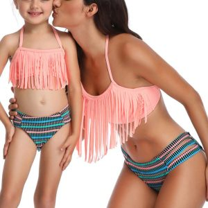 Striped Mother Daughter Bikini
