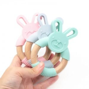 Rabbit Silicone Baby Teether – Wooden Ring - MyWeeOnes