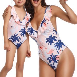 Mother Daughter Matching Swimsuit – Tropical Pink Flamingo Print