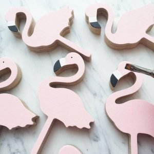 Flamingo Wooden Clothes Hanger - Nursery Decoration