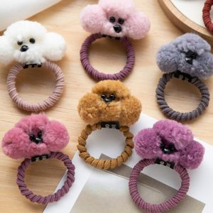 Girls Cute Plush Dog Elastic Hair Band
