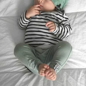 Spring and Autumn Baby Casual Striped Set - 3pcs (Hat + T-shirt, Pants)