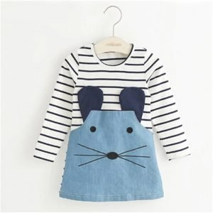 Striped Dress for Girls - Mouse Denim Patch - 0/8 Years Old