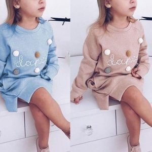 Autumn/Winter Pom Poms Dress for Toddler Girls