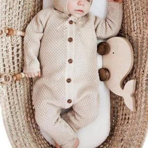 Baby Knitted Jumpsuit With Hat