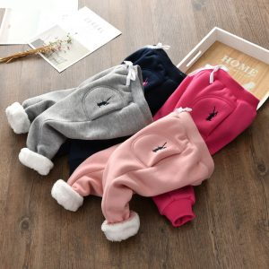 Winter Children Elastic Pants with Fleece