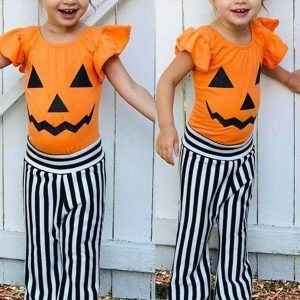 Halloween Novelty Girl Pumpkin T-shirt + Striped Pants