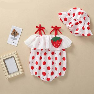 Summer Baby Jumpsuits + Hat - Strawberry, Egg, Cucumber, Lemon, Orange Prints