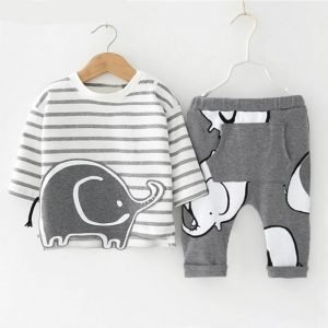 Baby Clothing Sets - Elephant Print - Long Sleeve T-shirt + Trousers