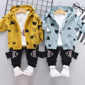 Spring Autumn Baby Boy Casual Set- Coat + T-Shirt + Trousers - Cat Print