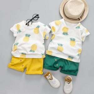 Cotton Baby Clothing Sets T-shirt + Shorts Pineapple Print