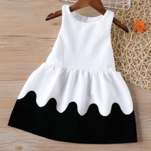 Summer Girls Dresses Black and White