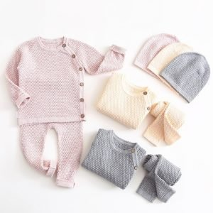 Long Sleeve Knitted Set - Top + Pants